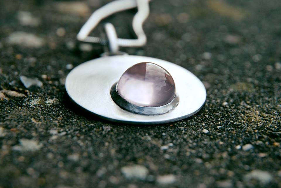 Pendentif argent quartz rose