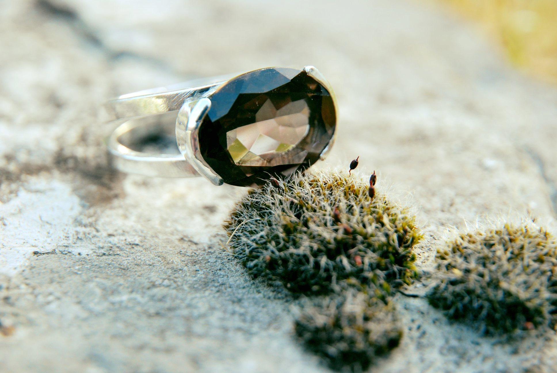 Bague quartz fumé